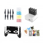 DJI / Ryze Tech Tello Accessories 4 pack combo : Gamepad Phone Holder + Joystick, Charging Hug 4 in 1 Battery Charger, 20pcs Quick-Release Propellers (4pcs Black, 4pcs White, 4pcs Red, 4pcs Yellow, 4pcs Blue), 6pcs Body Skin PVC Stickers,