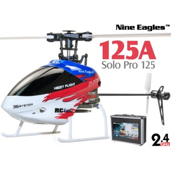 Nine Eagles (NE-R/C-125A-SOLO-PRO-RW-CASE) SOLO PRO 125 6CH Flybarless Micro Helicopter with J6 PRO Transmitter and Aluminum Carrying Case RTF (Red-White) - 2.4GHzNine Eagles Helicopters