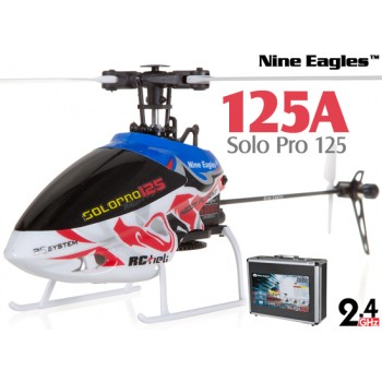 Nine Eagles (NE-R/C-125A-SOLO-PRO-RS-CASE) SOLO PRO 125 6CH Flybarless Micro Helicopter with J6 PRO Transmitter and Aluminum Carrying Case RTF (Red-Silver) - 2.4GHzNine Eagles Helicopters