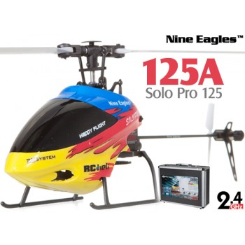 Nine Eagles (NE-R/C-125A-SOLO-PRO-RY-CASE) SOLO PRO 125 6CH Flybarless Micro Helicopter with J6 PRO Transmitter and Aluminum Carrying Case RTF (Red-Yellow) - 2.4GHzNine Eagles Helicopters