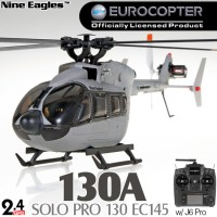 Nine Eagles (NE-R/C-130A-EC145-AG) SOLO PRO 130 EC145 6CH Flybarless Licensed Micro Helicopter with J6 PRO Transmitter RTF (Army Gray) - 2.4GHz