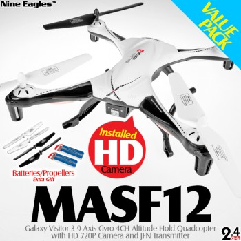Nine Eagles (NE-MASF12-BW-M1-VP) Galaxy Visitor 3 9 Axis Gyro 4CH Altitude Hold Quadcopter with HD 720P Camera and JFN Transmitter Value Pack RTF (Black White, Mode 1) - 2.4GHz