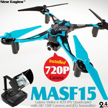 Nine Eagles (NE-MASF15-B-M2) Galaxy Visitor 6 6 Axis Gyro 4CH FPV Quadcopter with HD 720P Camera and JFQ Transmitter RTF (Blue, Mode 2) - 2.4GHz