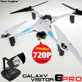 Nine Eagles (NE-MASF15A-W-M2) Galaxy Visitor 6 Pro 6 Axis Gyro 4CH FPV Quadcopter with HD 720P Camera and JFS Transmitter RTF (White, Mode 2) - 2.4GHz