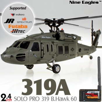 Nine Eagles (NE-R/C-319A-BHAWK60-BG-GL) SOLO PRO 319 B.Hawk 60 3 Axis Gyro 6CH 4-Blade Helicopter with General Link ARTF (Blackish Green) - 2.4GHzNine Eagles 319A Parts