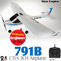 Nine Eagles (NE-R/C-791B-W) CTLS 3CH Airplane with J4 Transmitter RTF (White) - 2.4GHz